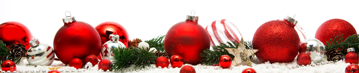 Christmas white background view with christmas balls and decoration