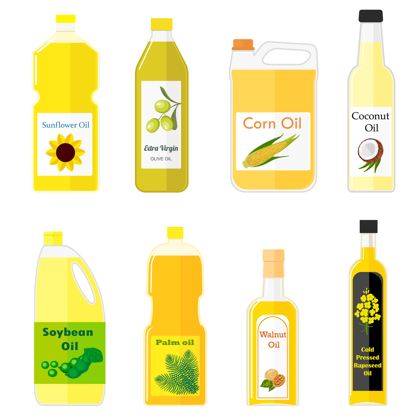 Vector set of pictures of different types of oil for cooking. Colorful illustration in flat style. Group bottles of oil for frying